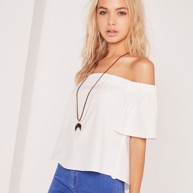 Missguided Basic Bardot White Top