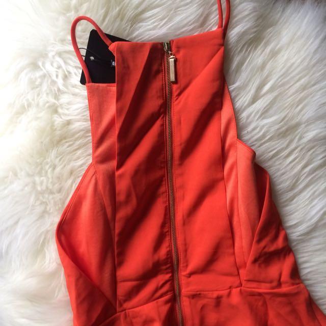 Missguided Orange Skater Dress Size 6