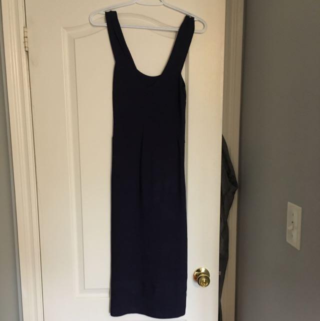 Navy Blue Bandage Dress Knee Length