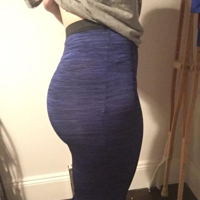 Paper Scissors Knee Length Blue Skirt