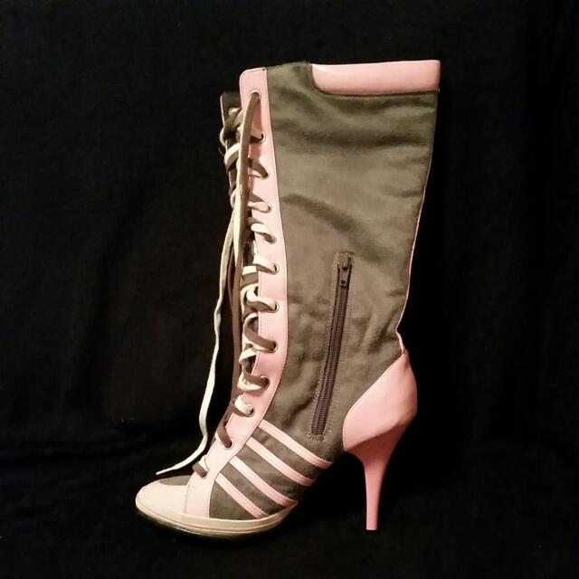 Pink And Grey Heel Boots