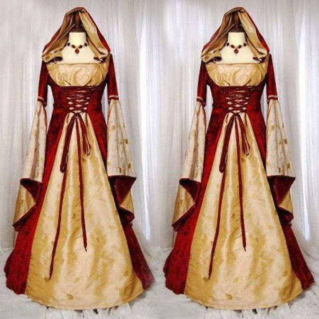 0138c90838b pre order Hooded medieval dress vintage palace royal princess queen  Halloween dress costume red gold red riding hood