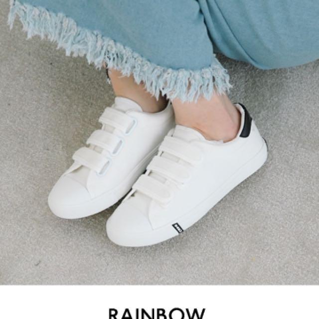Rainbow shop三線條魔鬼氈帆布鞋