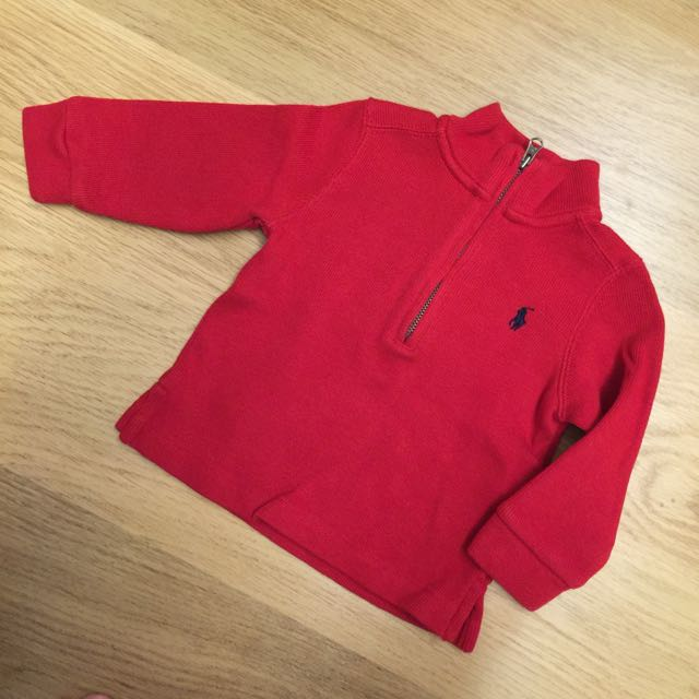 Ralph Lauren 紅色拉鍊針織衫 Polo