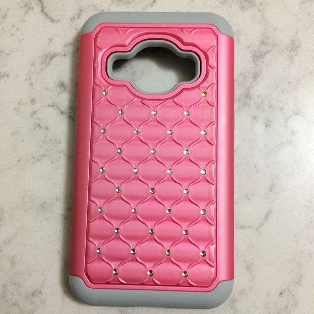 Samsung J1 2016 Pink Grey Rubber & Shockproof Case