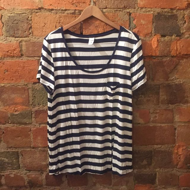 Scoop Neck Striped Shirt