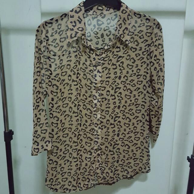 #easter40 See Through Animal Print Top
