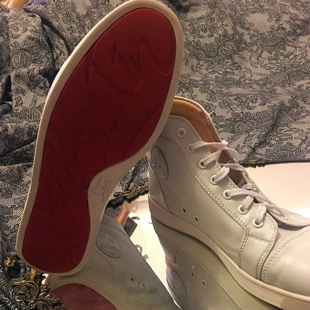 Size 11 Louboutin White Leather High-top Trainers