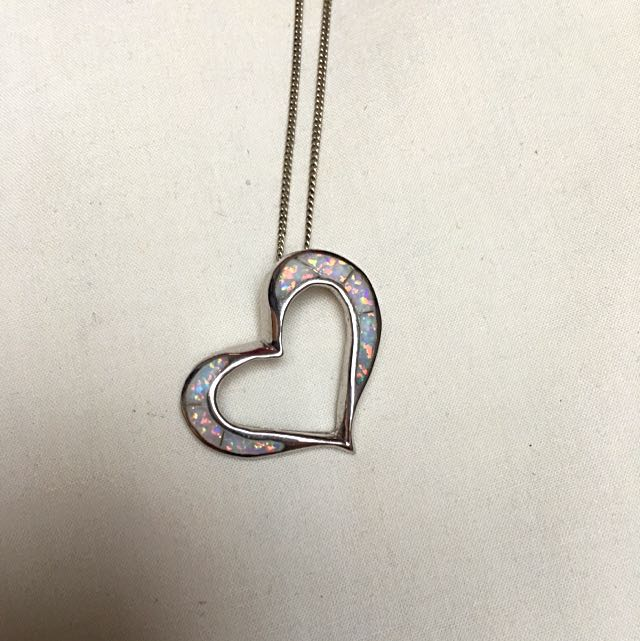 Sterling Silver 925 White Opal Heart Necklace