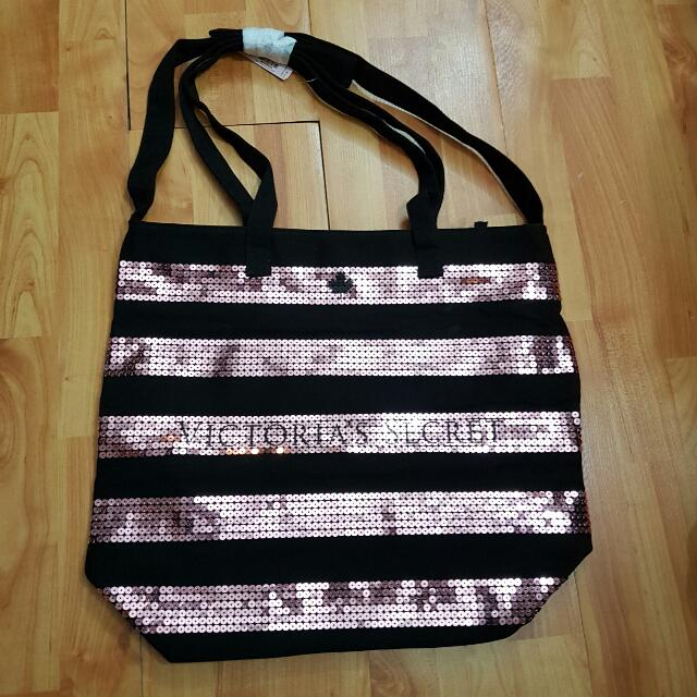 VICTORIA'S SECRET Pink Sequin Tote Bag