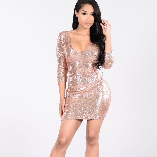 Women's Rose Gold Sequin Mini Dress