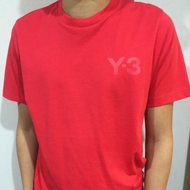 Y-3  紅底紅字 經典LOGO素T