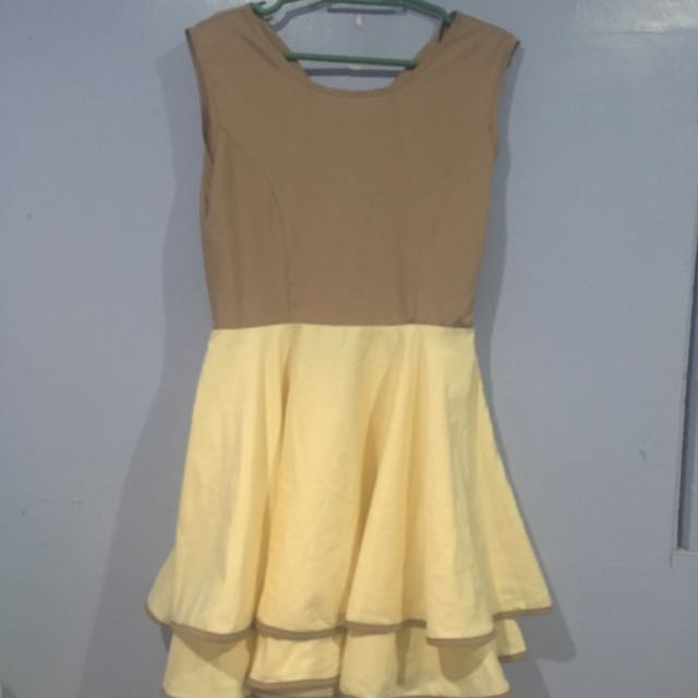 Yellow-Tan Formal Dress
