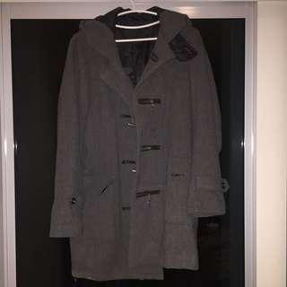 Playboy 灰色羊毛大衣連帽外套 100%正