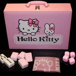 FREE GIFT! 100% NEW HELLO KITTY PINK Limited Edition Full Mahjong Set Singapore Version with PVC leather carrying case (READY STOCK in SG)