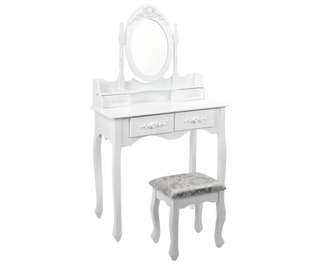 4 Drawer Dressing Table w/ Mirror White