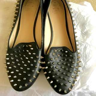 Wittner Black Leather Loafers w/ Silver Studs