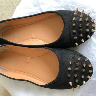 NEW Black Faux Suede Flats w/ Gold Studs
