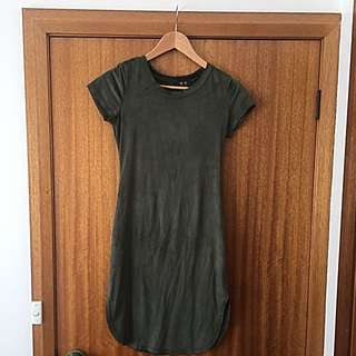 Olive Green Suede Dress