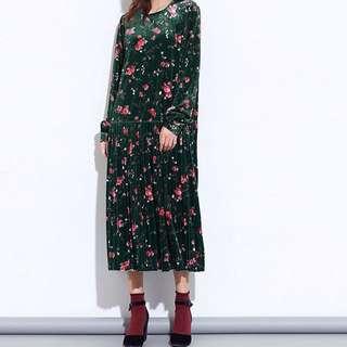 Y2™日系甜美復古金絲絨碎花朵長袖洋裝百摺裙簡約質感長袖洋裝▪️寬鬆時尚大版中大尺碼顯瘦身修身設計款大碼女裝韓版日本代購尾牙