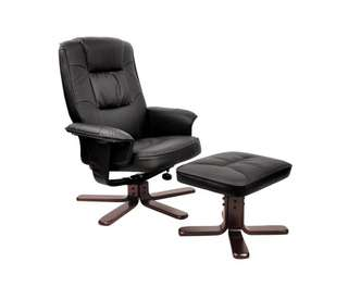 PU Leather Lounge Office Recliner Chair Ottoman Black