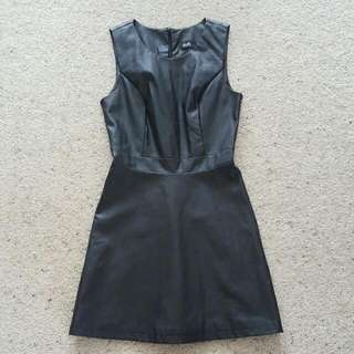 Leather look skater dress