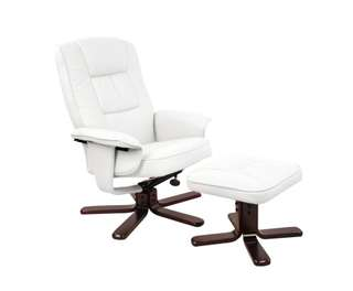 PU Leather Lounge Office Recliner Chair Ottoman White