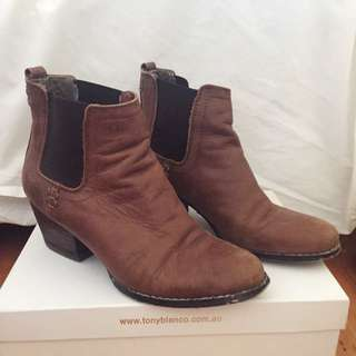 Novo Faux Leather Boots Brown Size 7