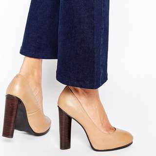 ASOS Faith Connaught Camel Leather Block Heeled Shoes