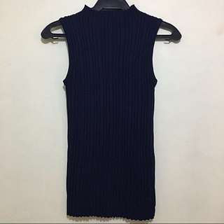 Navy Blue Knitted Sleeveless