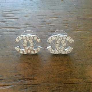 Silver Plated Chanel Inspired Earrings