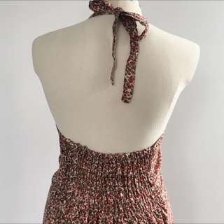 SILK FLORAL HALTER DRESS
