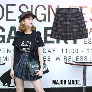 轉賣 M號 major made MJR 微甜春季格紋百褶裙 黑