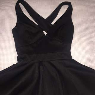 Black Top / Tight Brown Dress