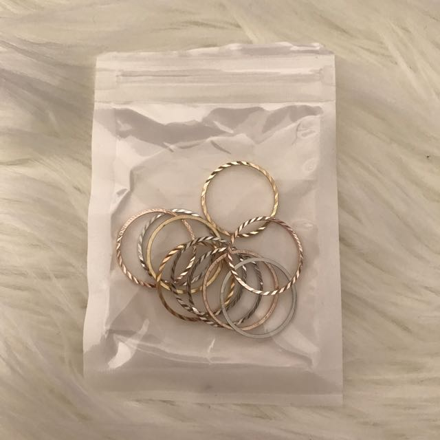 10x Showpo Costume Jewellery Rings - Silver, gold & rose gold