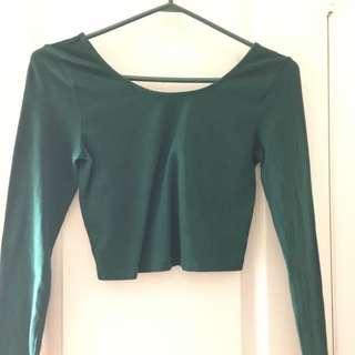 Aritzia Talula Deep Green Xs Long Sleeve Crop Top BNWOT