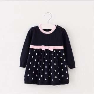 Baby GAP 原單 寶寶 點點 蝴蝶結 針織洋裝 針織長版上衣 (少量現貨售完不追加)