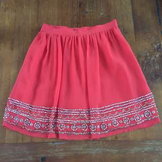 Orange Beaded Forever New Skirt Sz 6