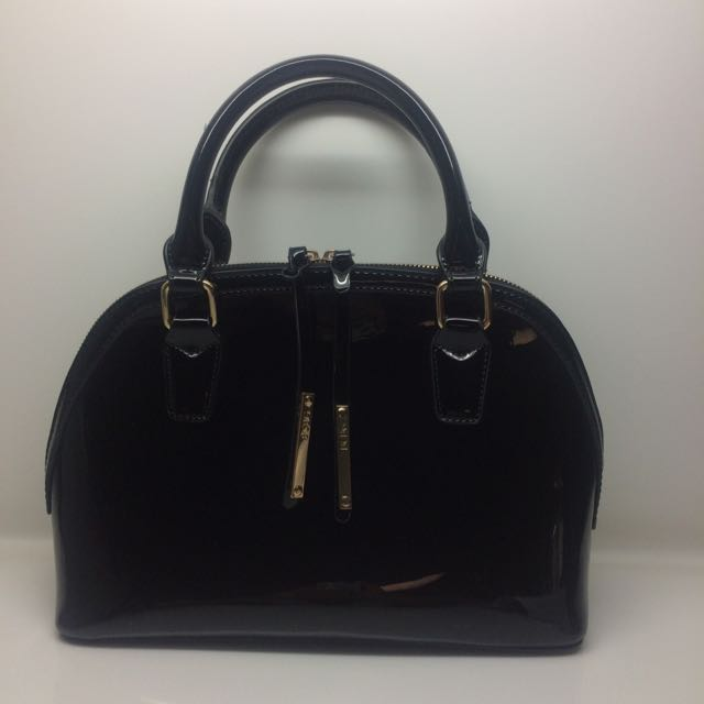 BCBG Max Azria Black Patent Bowling Bag