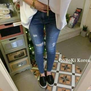 正韓 韓製 doboki korea 合身彈性百搭顯瘦刷破破損牛仔褲窄管褲