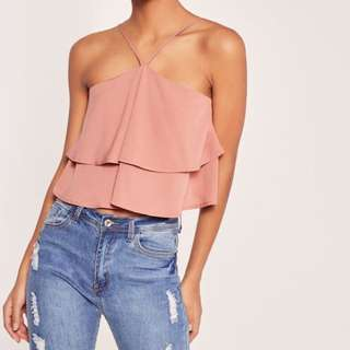 Missguided double frill 90's neck crop rose