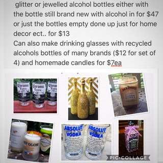 Glitter Alcohol Bottle Sealed, Decor, Alcohol Bottle Glasses and Candles