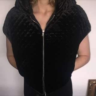 Josh Goot Black Velvet Vest With Hood