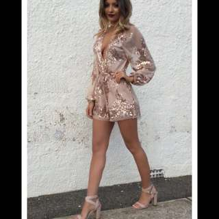 White fox Boutique Rose Gold Playsuit
