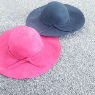 Two Hats,maroon And Black