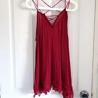Free People Slip Dress With lace (Scarlet)