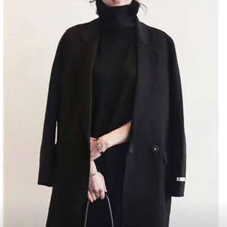 黑色羊絨挺版大衣