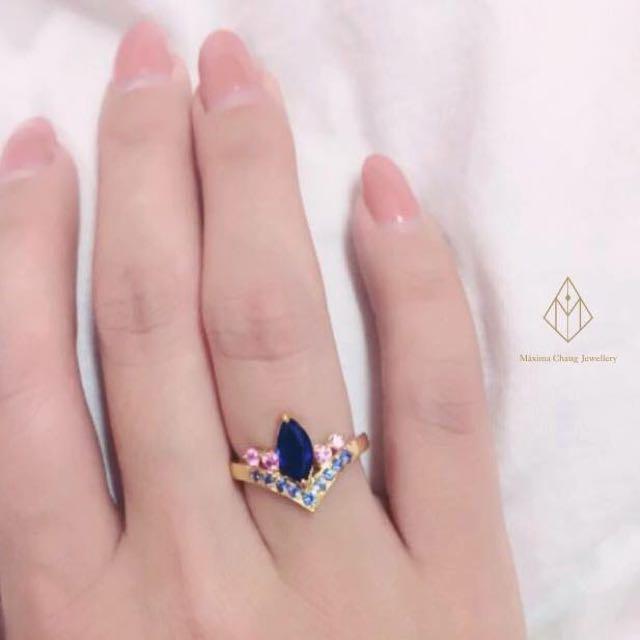 降價.ㄡ18K金藍寶石與粉紅剛玉戒指