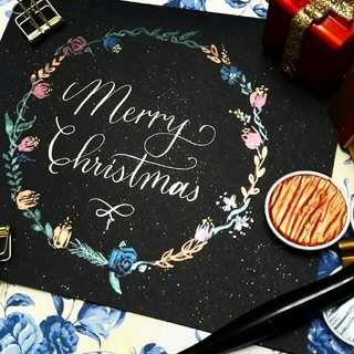 Handpainted Floral Wreath Christmas Card