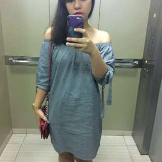Unbranded Soft Denim Off-shoulder Dress